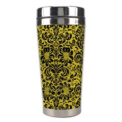 Damask2 Black Marble & Yellow Leather Stainless Steel Travel Tumblers