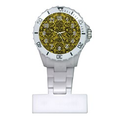 Damask2 Black Marble & Yellow Leather Plastic Nurses Watch