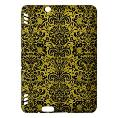 Damask2 Black Marble & Yellow Leather Kindle Fire Hdx Hardshell Case