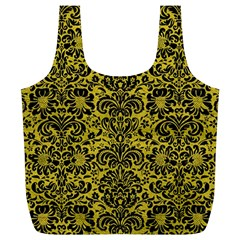 Damask2 Black Marble & Yellow Leather Full Print Recycle Bags (l)