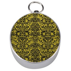 Damask2 Black Marble & Yellow Leather Silver Compasses