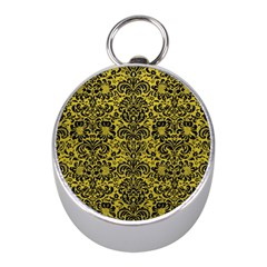 Damask2 Black Marble & Yellow Leather Mini Silver Compasses