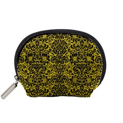 Damask2 Black Marble & Yellow Leather Accessory Pouches (small)