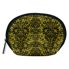 Damask2 Black Marble & Yellow Leather Accessory Pouches (medium)