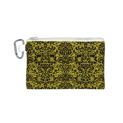 Damask2 Black Marble & Yellow Leather Canvas Cosmetic Bag (s)