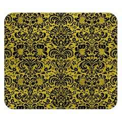 Damask2 Black Marble & Yellow Leather Double Sided Flano Blanket (small)