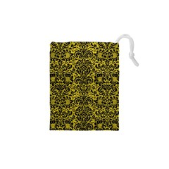 Damask2 Black Marble & Yellow Leather Drawstring Pouches (xs)