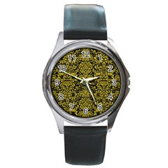 Damask2 Black Marble & Yellow Leather (r) Round Metal Watch
