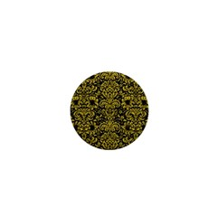 Damask2 Black Marble & Yellow Leather (r) 1  Mini Buttons
