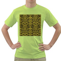 Damask2 Black Marble & Yellow Leather (r) Green T Shirt