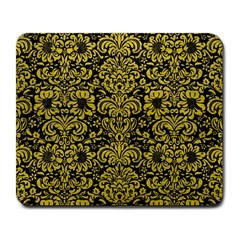 Damask2 Black Marble & Yellow Leather (r) Large Mousepads