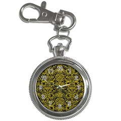 Damask2 Black Marble & Yellow Leather (r) Key Chain Watches