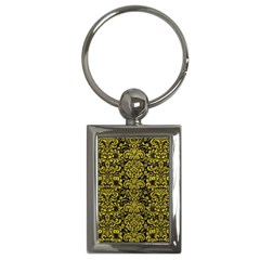 Damask2 Black Marble & Yellow Leather (r) Key Chains (rectangle)