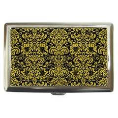 Damask2 Black Marble & Yellow Leather (r) Cigarette Money Cases