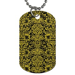 Damask2 Black Marble & Yellow Leather (r) Dog Tag (two Sides)