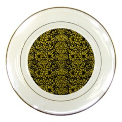 Damask2 Black Marble & Yellow Leather (r) Porcelain Plates