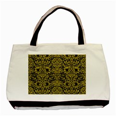 Damask2 Black Marble & Yellow Leather (r) Basic Tote Bag