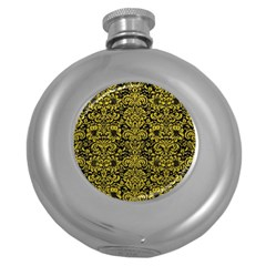 Damask2 Black Marble & Yellow Leather (r) Round Hip Flask (5 Oz)