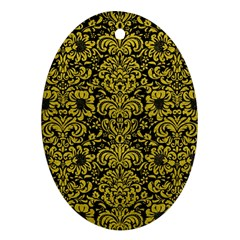 Damask2 Black Marble & Yellow Leather (r) Oval Ornament (two Sides)