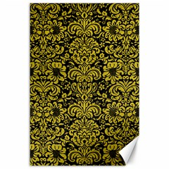 Damask2 Black Marble & Yellow Leather (r) Canvas 24  X 36