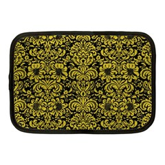 Damask2 Black Marble & Yellow Leather (r) Netbook Case (medium)