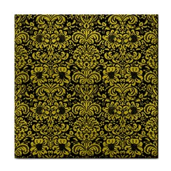 Damask2 Black Marble & Yellow Leather (r) Face Towel