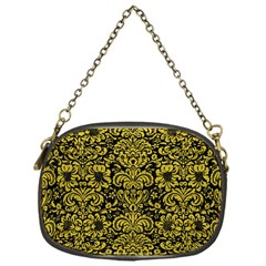 Damask2 Black Marble & Yellow Leather (r) Chain Purses (one Side)