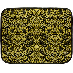Damask2 Black Marble & Yellow Leather (r) Double Sided Fleece Blanket (mini)