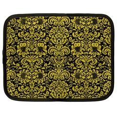 Damask2 Black Marble & Yellow Leather (r) Netbook Case (xxl)