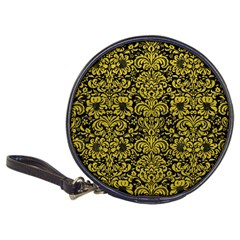 Damask2 Black Marble & Yellow Leather (r) Classic 20 Cd Wallets