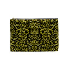 Damask2 Black Marble & Yellow Leather (r) Cosmetic Bag (medium)