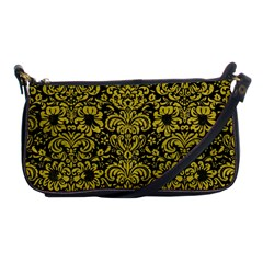 Damask2 Black Marble & Yellow Leather (r) Shoulder Clutch Bags