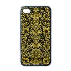 Damask2 Black Marble & Yellow Leather (r) Apple Iphone 4 Case (black)