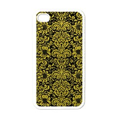 Damask2 Black Marble & Yellow Leather (r) Apple Iphone 4 Case (white)