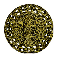 Damask2 Black Marble & Yellow Leather (r) Round Filigree Ornament (two Sides)