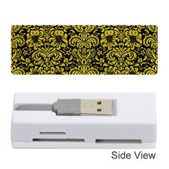 Damask2 Black Marble & Yellow Leather (r) Memory Card Reader (stick)