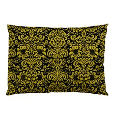 Damask2 Black Marble & Yellow Leather (r) Pillow Case (two Sides)