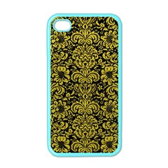 Damask2 Black Marble & Yellow Leather (r) Apple Iphone 4 Case (color)