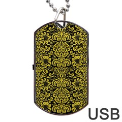 Damask2 Black Marble & Yellow Leather (r) Dog Tag Usb Flash (two Sides)