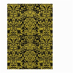 Damask2 Black Marble & Yellow Leather (r) Small Garden Flag (two Sides)