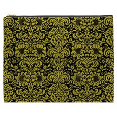 Damask2 Black Marble & Yellow Leather (r) Cosmetic Bag (xxxl)