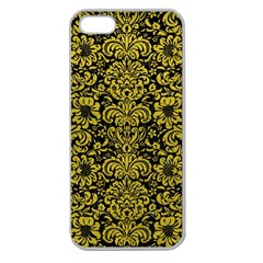 Damask2 Black Marble & Yellow Leather (r) Apple Seamless Iphone 5 Case (clear)