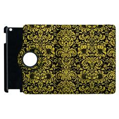 Damask2 Black Marble & Yellow Leather (r) Apple Ipad 2 Flip 360 Case