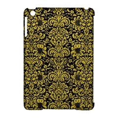 Damask2 Black Marble & Yellow Leather (r) Apple Ipad Mini Hardshell Case (compatible With Smart Cover)
