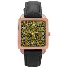 Damask2 Black Marble & Yellow Leather (r) Rose Gold Leather Watch