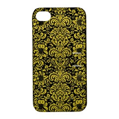 Damask2 Black Marble & Yellow Leather (r) Apple Iphone 4/4s Hardshell Case With Stand