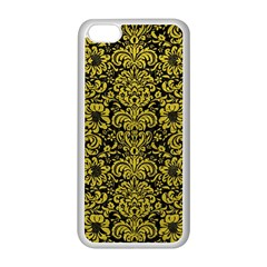 Damask2 Black Marble & Yellow Leather (r) Apple Iphone 5c Seamless Case (white)