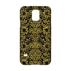 Damask2 Black Marble & Yellow Leather (r) Samsung Galaxy S5 Hardshell Case