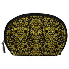 Damask2 Black Marble & Yellow Leather (r) Accessory Pouches (large)