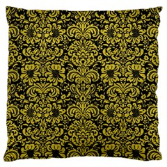 Damask2 Black Marble & Yellow Leather (r) Standard Flano Cushion Case (two Sides)